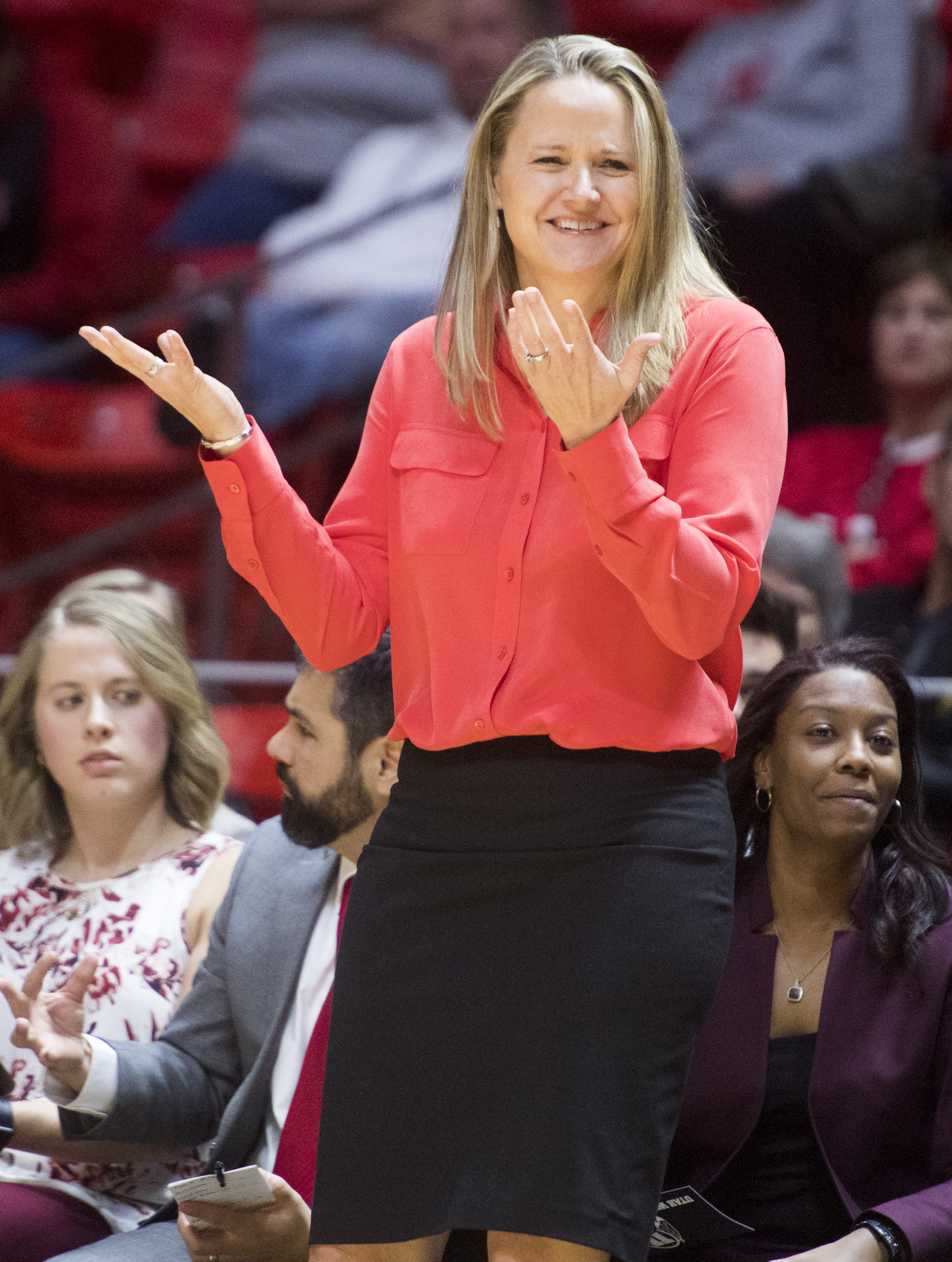 (Rick Egan  |  The Salt Lake Tribune)  Utah Utes head coach Lynne Roberts reacts to a call by the official, in basketball action Utah Utes vs. Purdue Boilermakers, at the Thomas M. Huntsman Center, Monday, November 20, 2017.