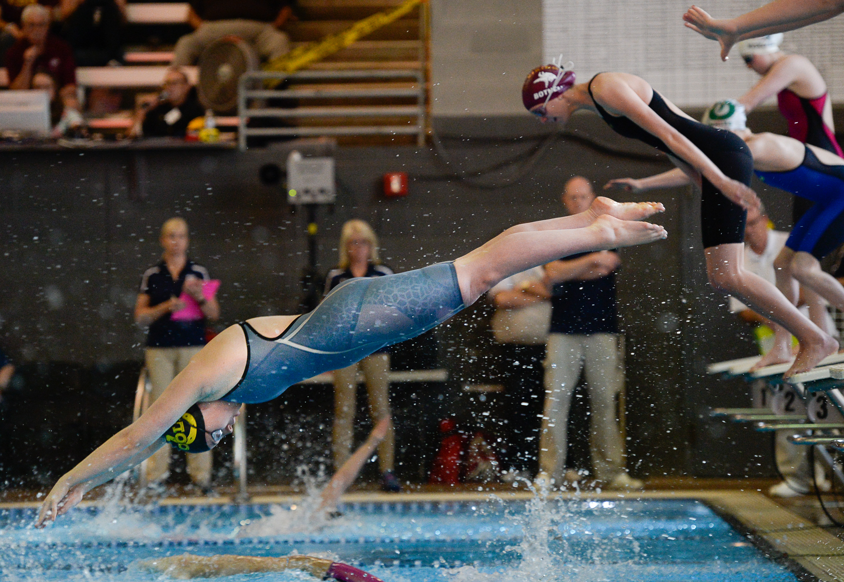 (Francisco Kjolseth  |  The Salt Lake Tribune)  Women compete in the 200 Yard Medley Relay at the high school swimming 5A State Championships in Bountiful, Friday February 9, 2018.