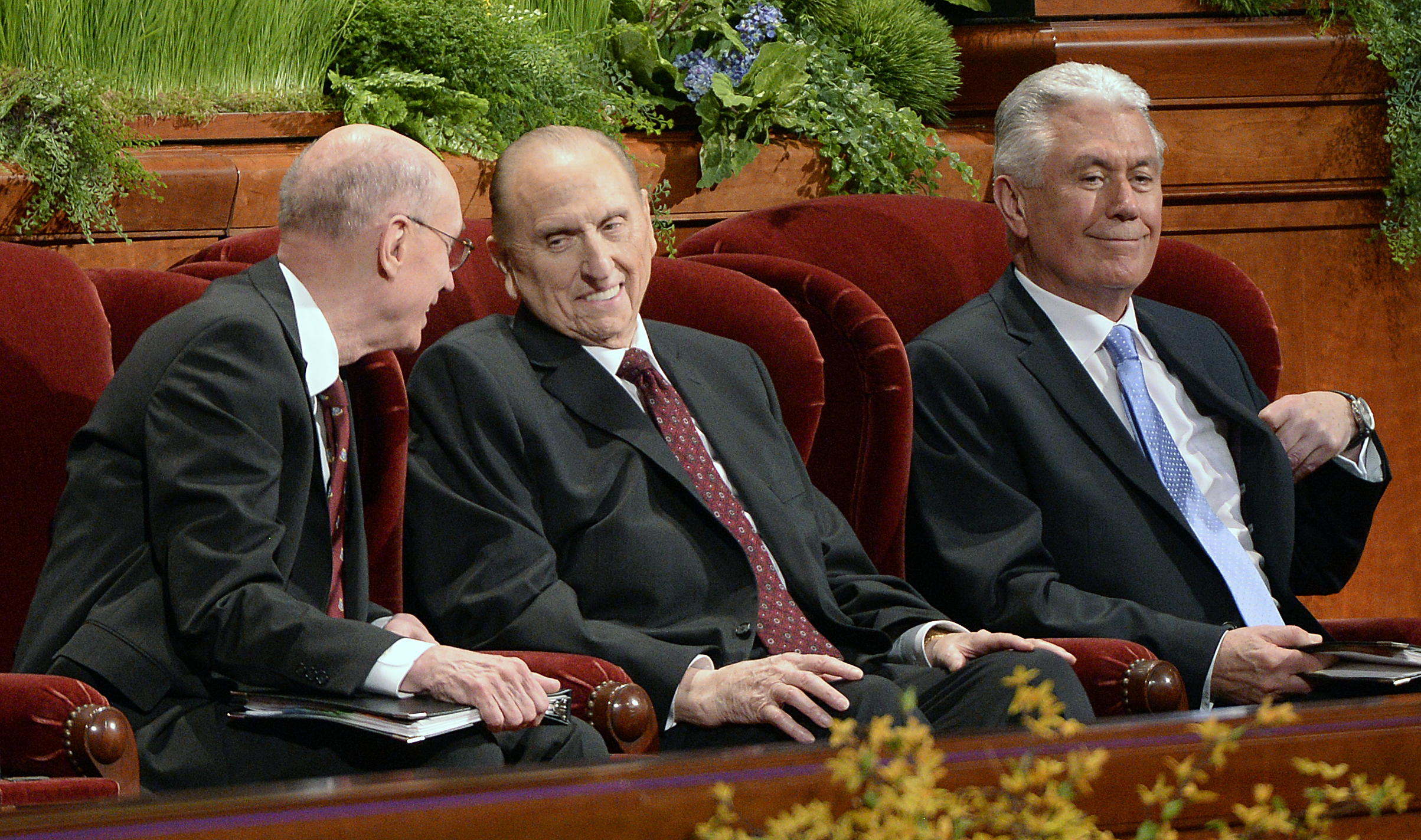 (Al Hartmann  |  The Salt Lake Tribune ) President Thomas S. Monson (center) with Henry B. Eyring (left) and Dieter F. Uchtdorf (right), at the 185th LDS General Conference on April 5, 2015.