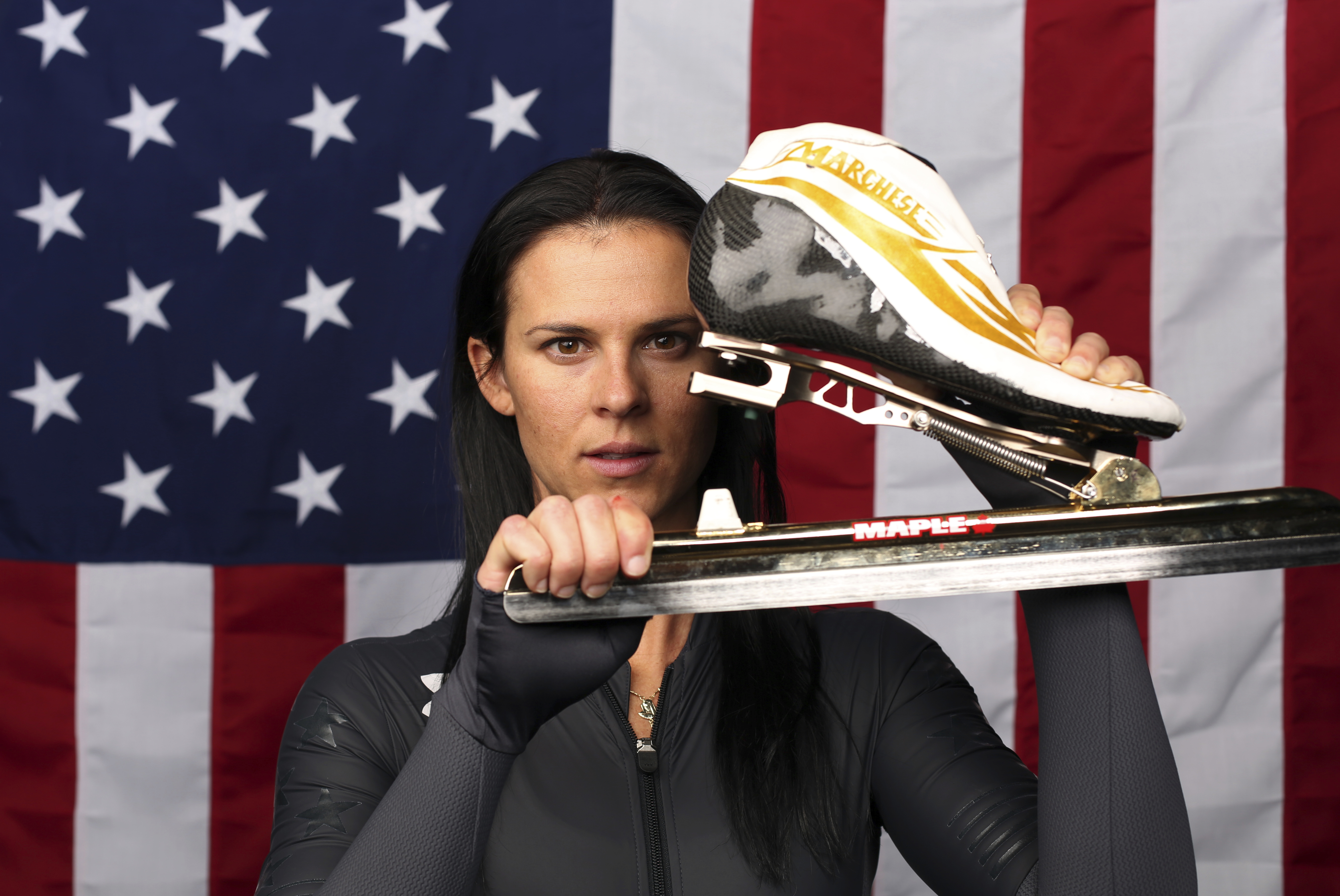 U.S. Olympic Winter Games long track speedskating hopeful Brittany Bowe poses for a portrait at the 2017 Team USA media summit Wednesday, Sept. 27, 2017, in Park City, Utah. (AP Photo/Rick Bowmer)