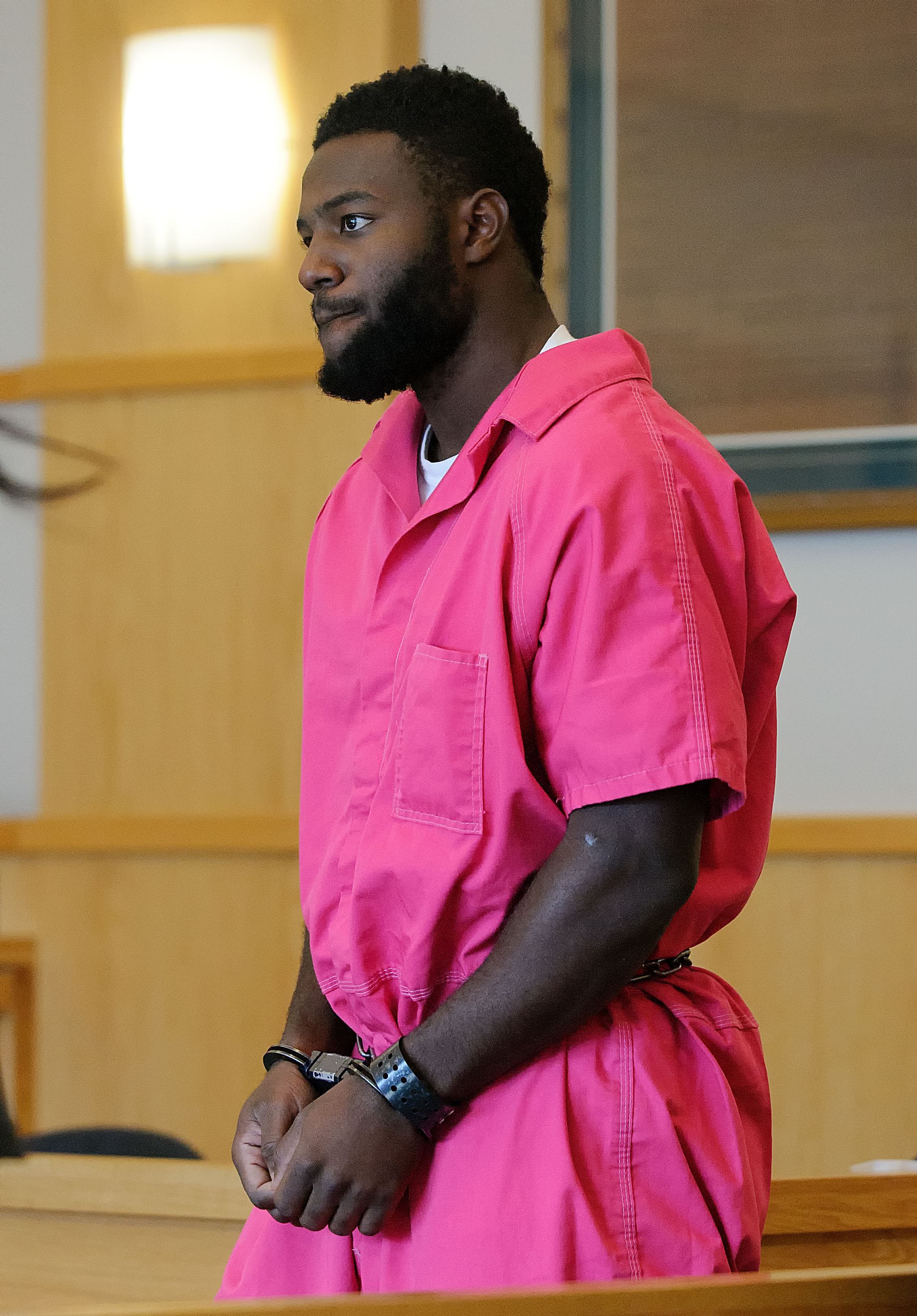 Torrey Green makes his initial appearance in 1st District Court on Tuesday, Oct. 25, 2016, in Logan, Utah. Green who played football at Utah State University has been charged with aggravated kidnapping, forcible sexual abuse, and four counts of rape. (Eli Lucero/Herald Journal)